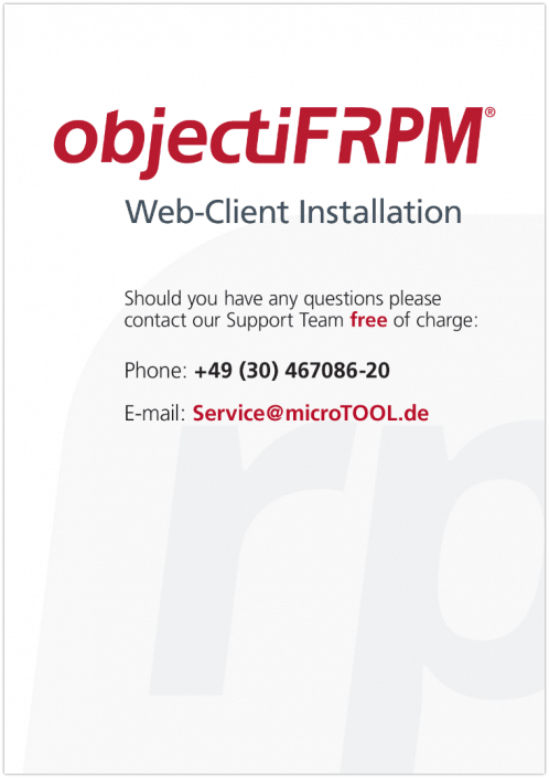 objectiF RPM - Installation of the Web-Client