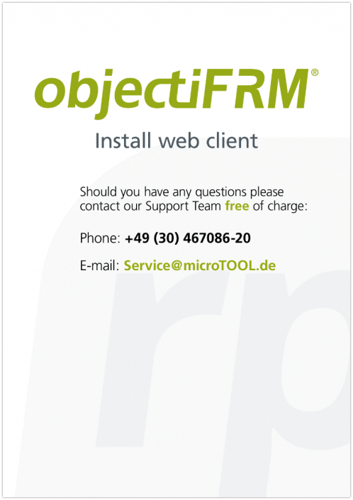 Follow these quick and easy instructions to set up the Web Client connection for your objectiF RM installation.