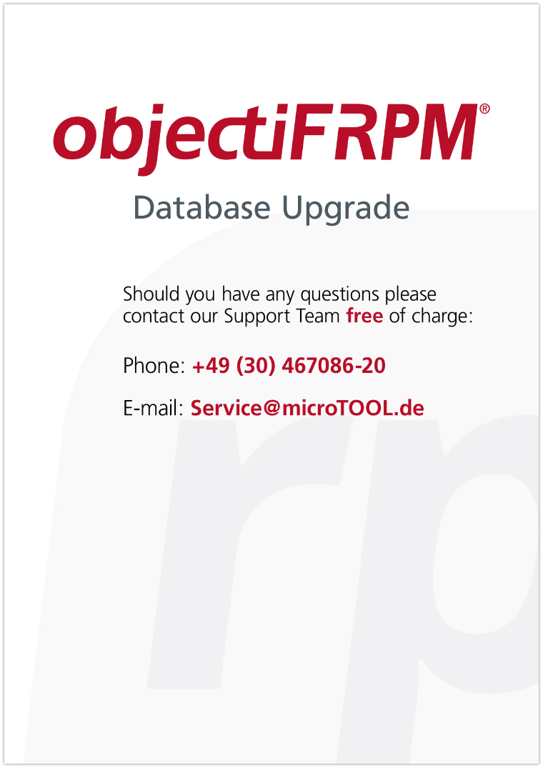 objectiF RPM - Database Upgrade