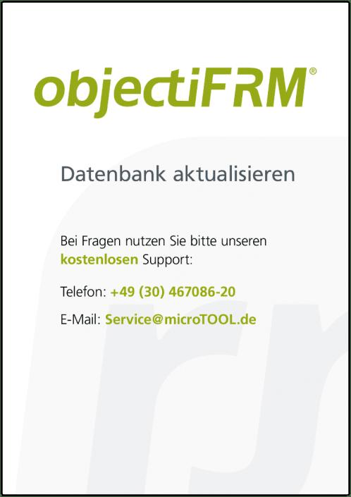 Wie Sie Ihre objectiF RM Datenbank aktualisieren