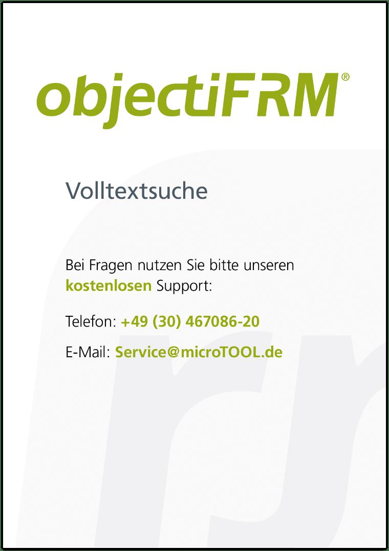 Mit dieser Kurzanleitung richten Sie die Volltextsuche für Ihre objectiF RM Installation ein.
