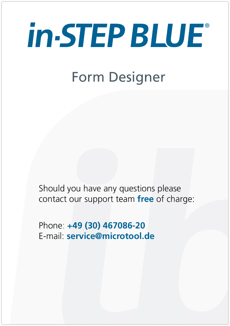 In this manual you will get to know, how to use the new Form Designer to design new Form Templates according to your requirements.