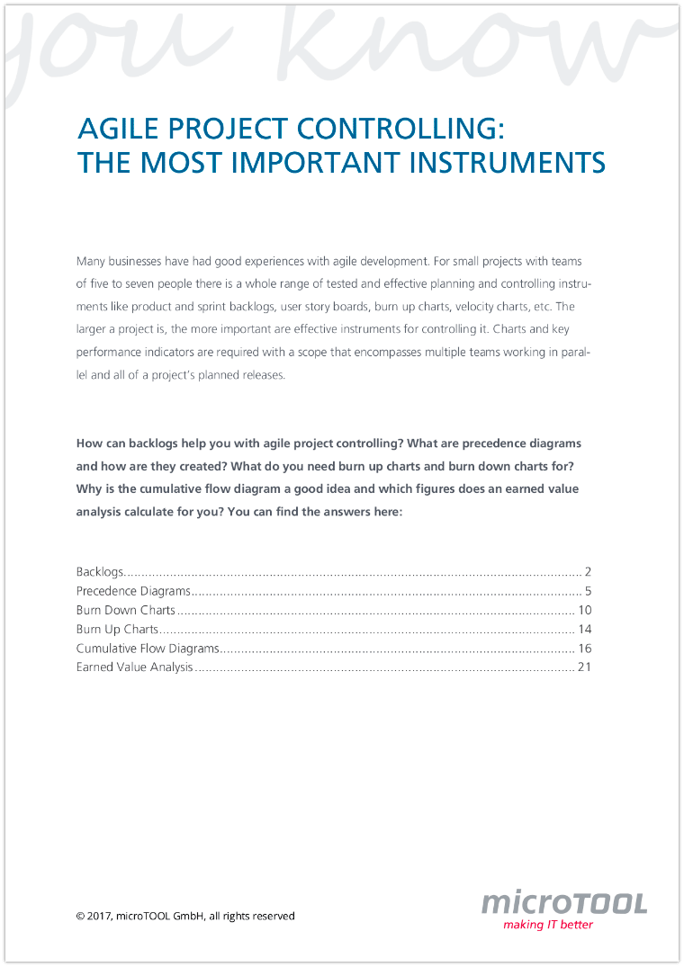 The most important instruments in agile project controlling