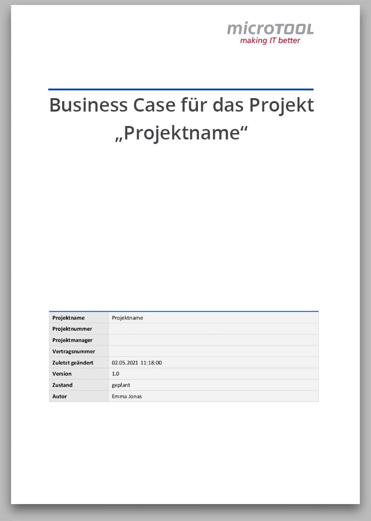 Vorlage für MS Word zur einfachen und schnellen Erstellung eines Business Case.