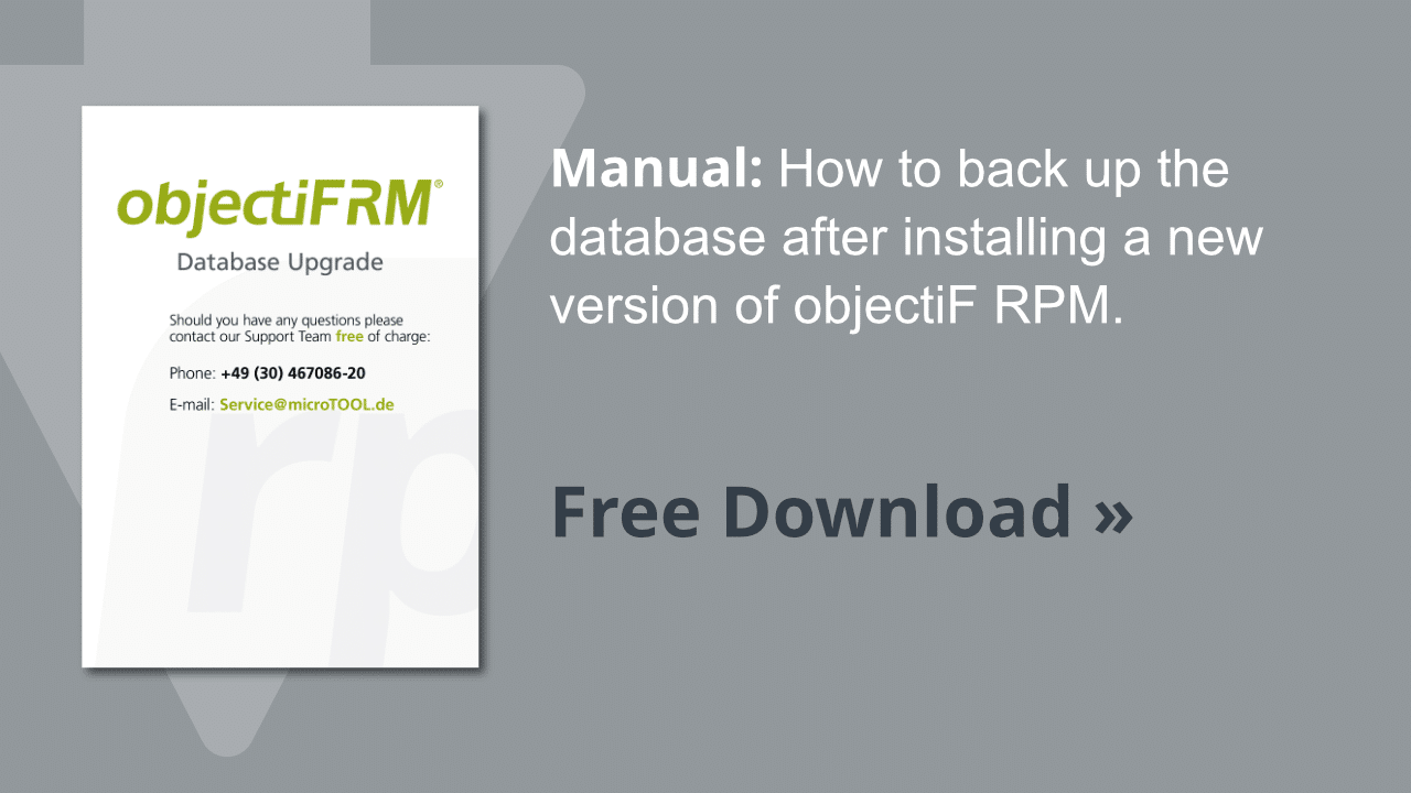 Manual objectiF RM database upgrade