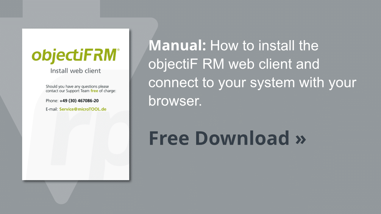 Manual objectiF RM web client installation