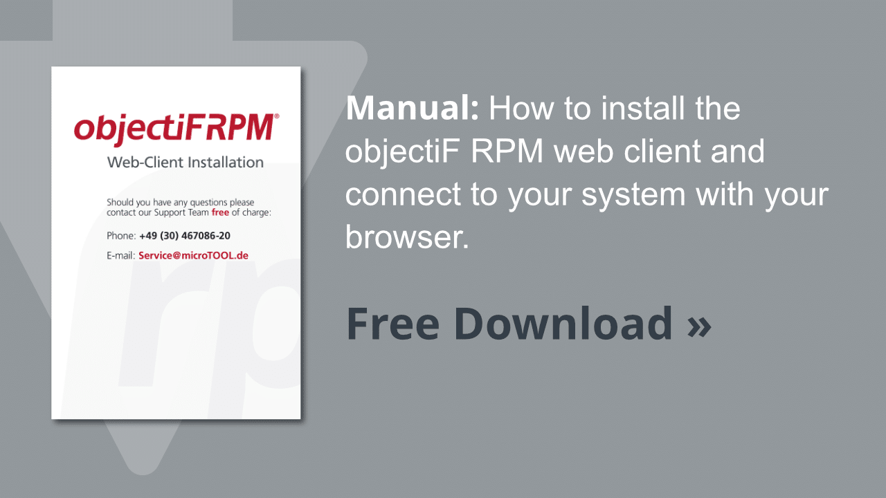 Manual objectiF RPM web client installation