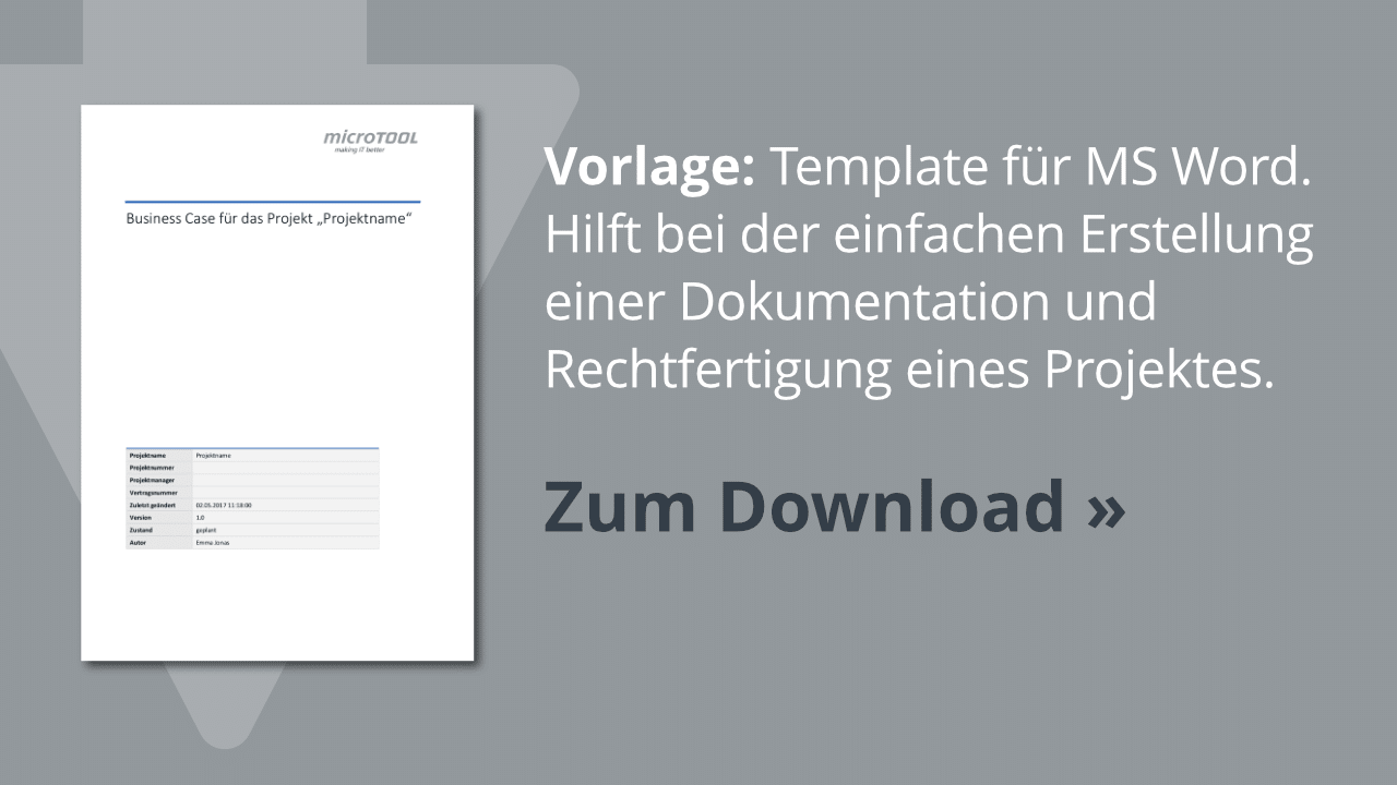 Download: Business Case Vorlage für MS Word