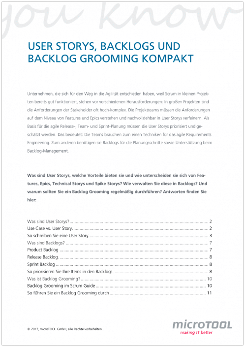 User Storys, Backlogs und Backlog Grooming kompakt