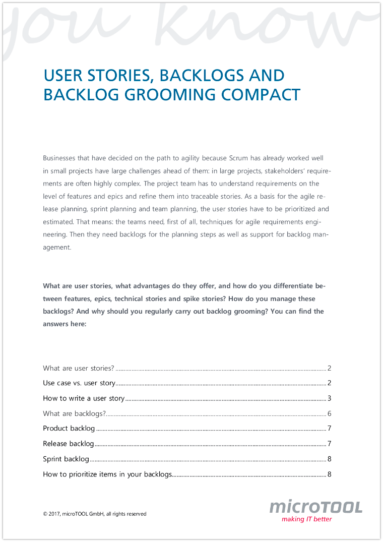 User Storys, Backlogs and Backlog Grooming compact