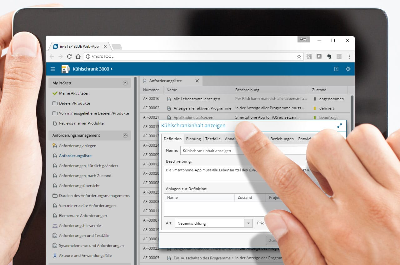Anforderungen per Tablett-PC und in-STEP BLUE WebApp erfassen