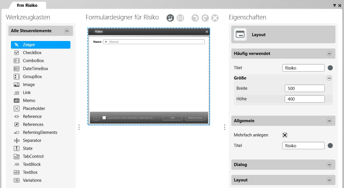 objectiF RPM: Formulardesigner öffnen