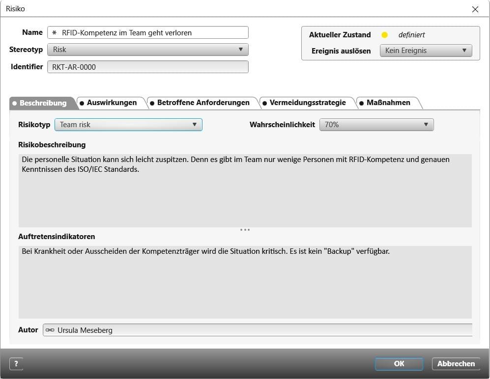 objectiF RPM: Aktuelles benutzerdefiniertes Risikoformular