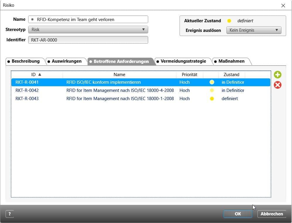 objectiF RPM: Referenzierte Anforderungen