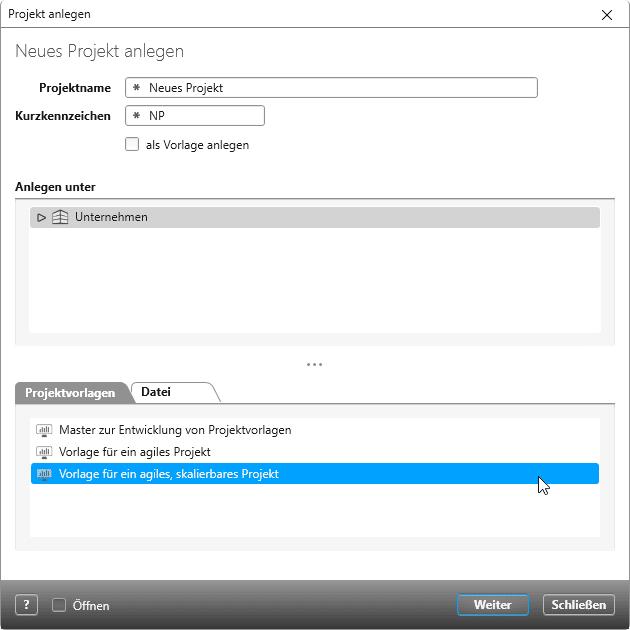 Wählen Sie einfach eine Vorlage in objectiF RPM und legen Sie mit Ihrem agilen Projekt los. Startpunkt ist Ihr Product bzw. Domäne Backlog, in dem Sie die Anforderungen sammeln, bewerten und priorisieren.