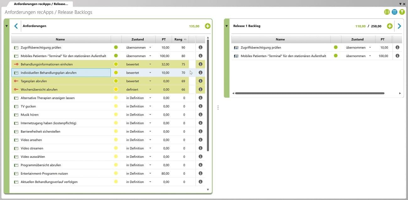 Planen Sie Ihre Anforderungen für Releases ein – einfach per Drag & Drop. Haben die Teams ihre Sprint Backlogs erstellt, sehen sie ihre teamspezifischen Anforderungen in eigenen User Story Boards.
