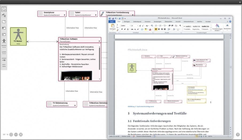 Wenn Sie ein Systemkontextdiagramm in objectiF RPM erstellt haben, lässt sich das Diagramm in ein Word-Dokument generieren.