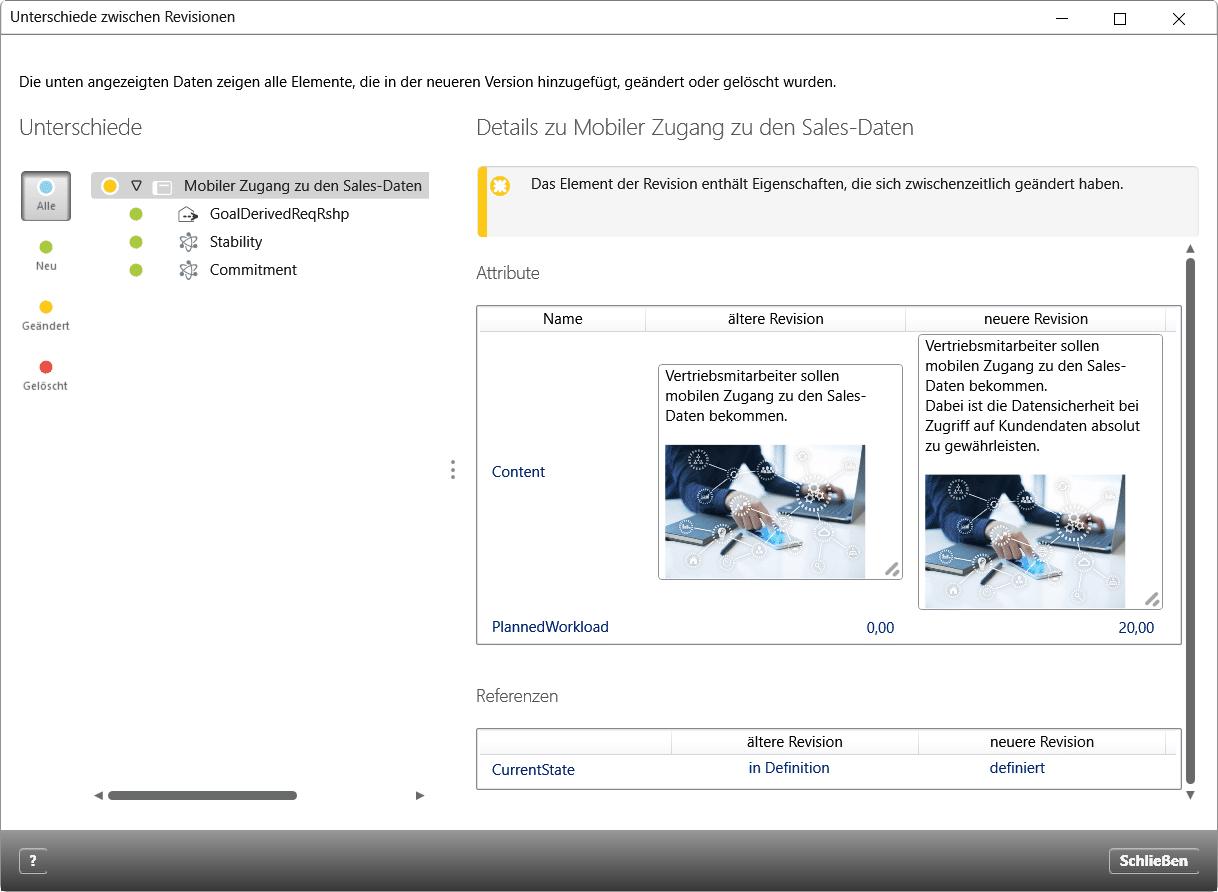 Vergleich zweier Revisionen einer Anforderung: Beschreibung und Zustand haben sich verändert (rechts aufgeführt), einigen Attributen (links aufgelistet) wurden Werte zugewiesen.