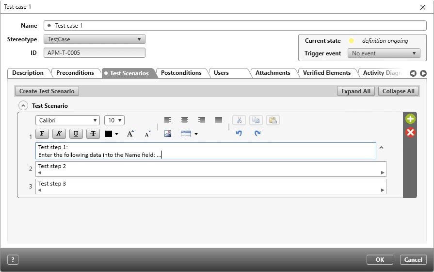 Create a test case in objectiF RPM