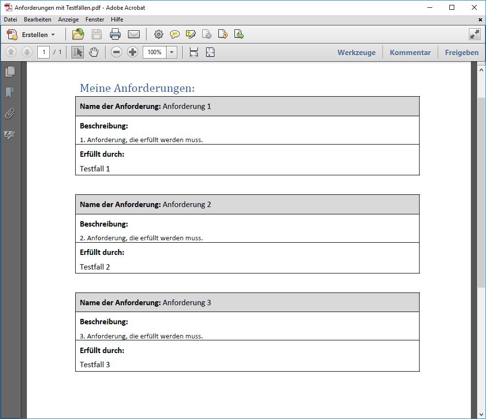 Anforderungen mit Testfällen als Tabelle