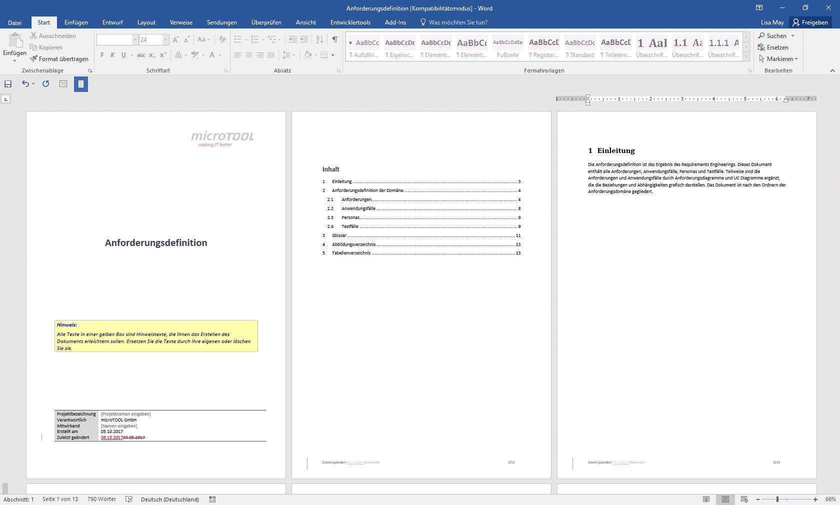 Anforderungsdokumentation als Word-Datei