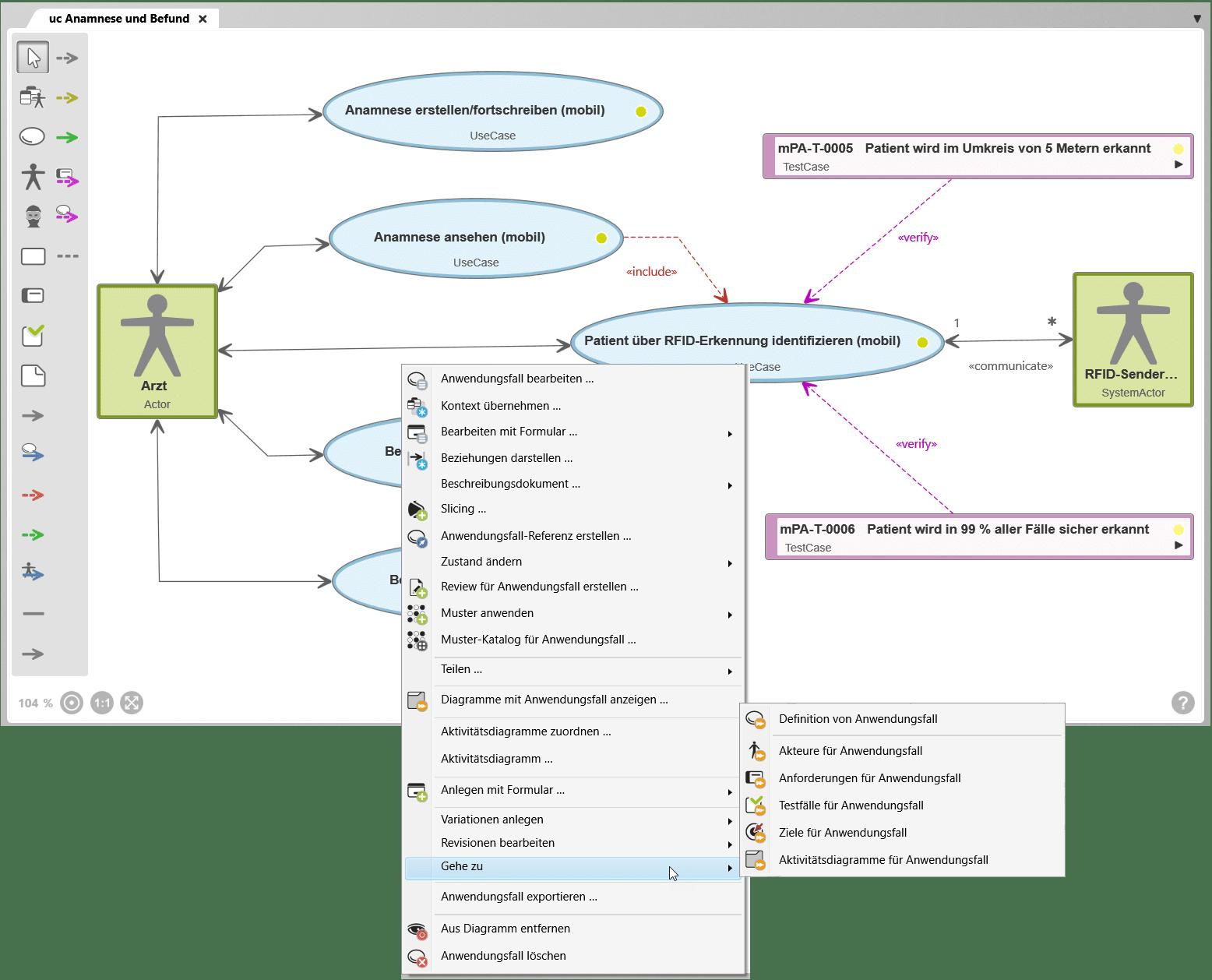 Navigieren im Diagramm