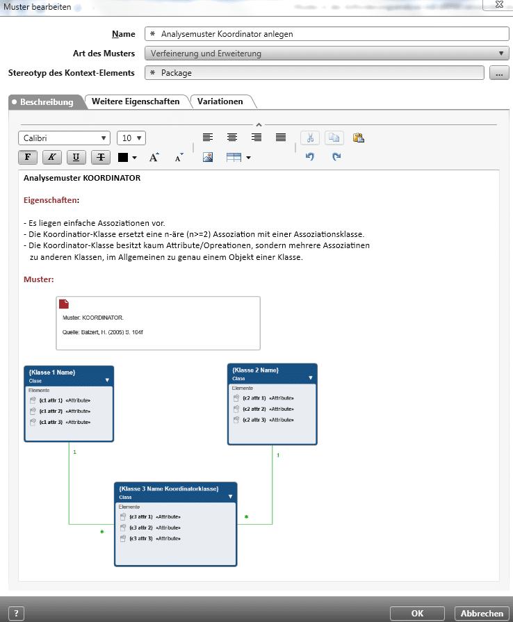 Muster anlegen für Analysemuster Koordinator
