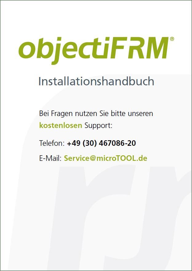 Titelblatt objectiF RM Installationshandbuch