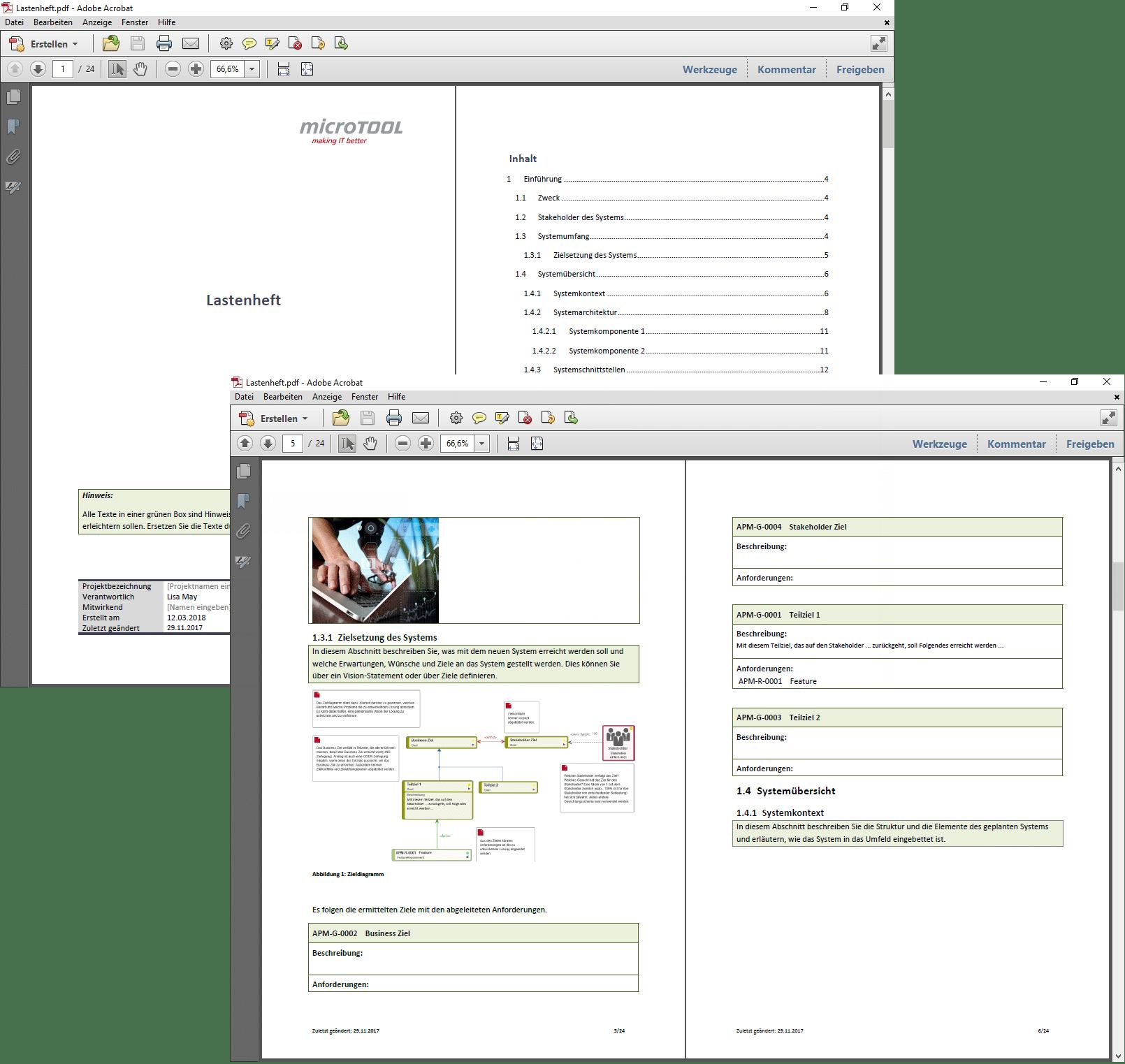 Ergebnis das Lastenhefts als PDF