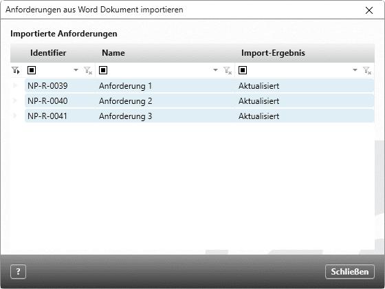 Statusreport des Import-Assistenten