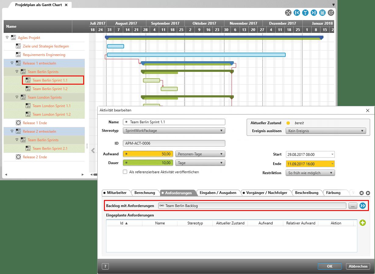 Sprint-Aktivität mit Backlog verbinden