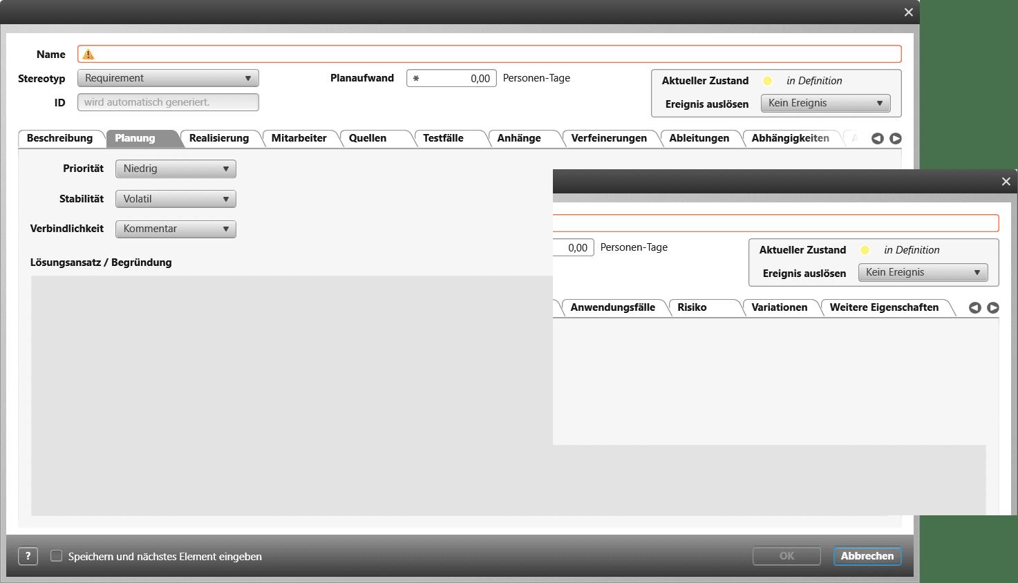 Standard Anforderungsformular in objectiF RPM