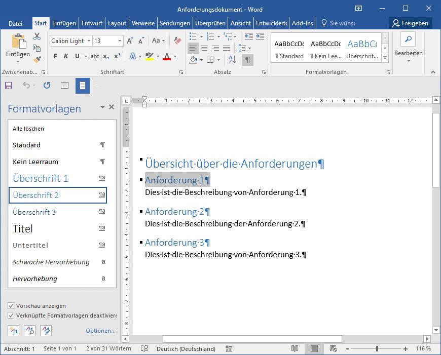 MS Word-Ausgangsdokument für den Anforderungsimport
