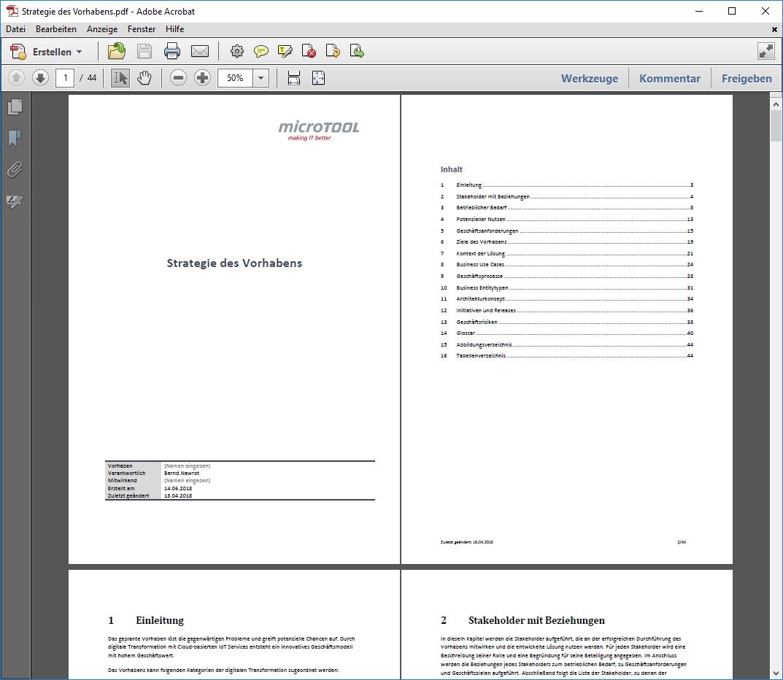Die Arbeitsergebnisse als PDF-Dokument zusammengefasst