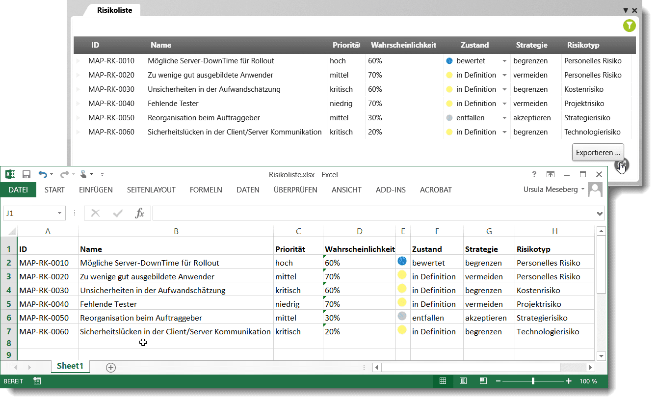 objectiF RPM: Export der Risikoliste nach MS Excel