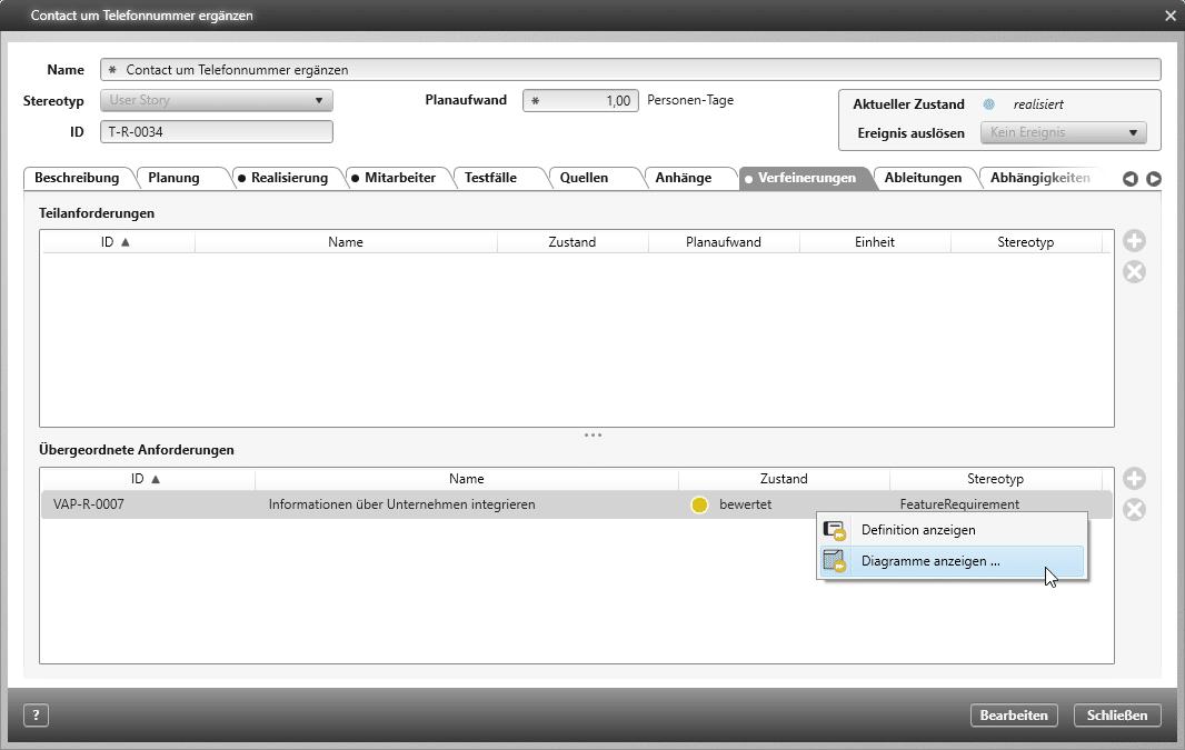 objectiF RPM: Navigation zur übergeordneten Anforderung