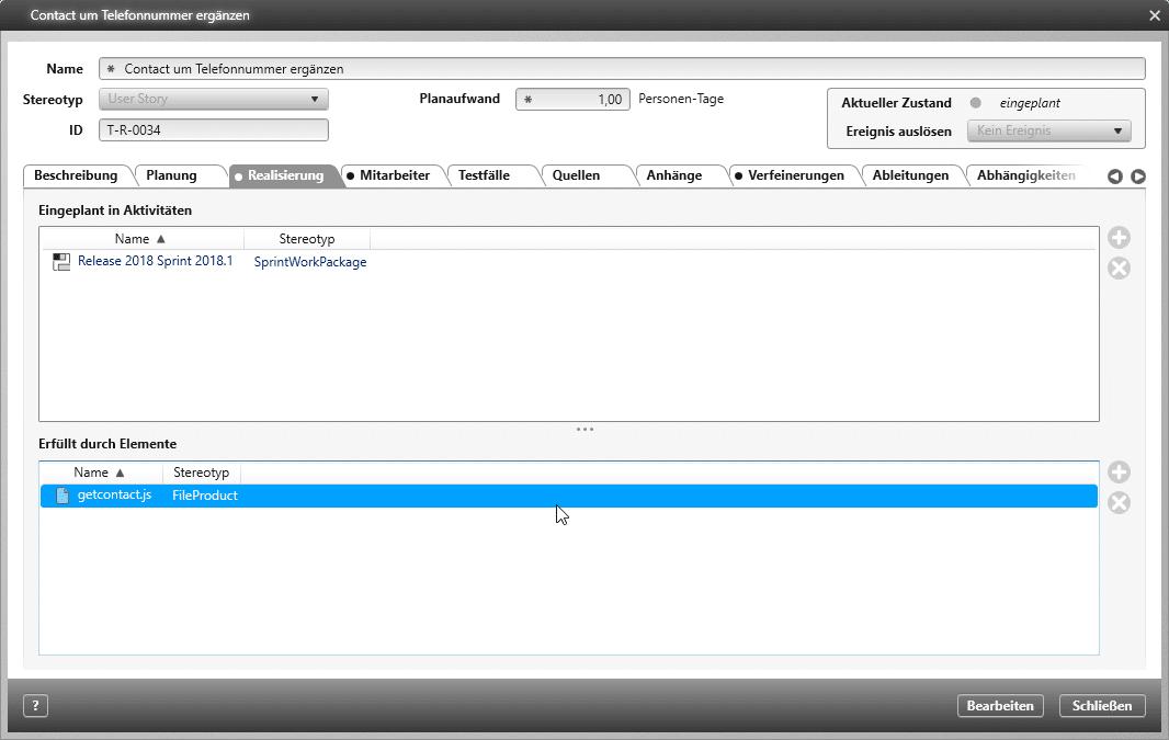 objectiF RPM: Erfüllt-Beziehung in der User Story