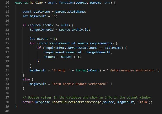 Erweiterungsfunktion Code generieren