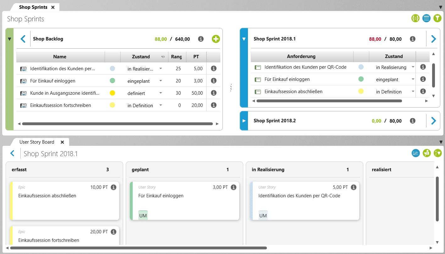 Dieser Screenshot zeigt die Übersicht der Sprint Planung in objectiF RPM