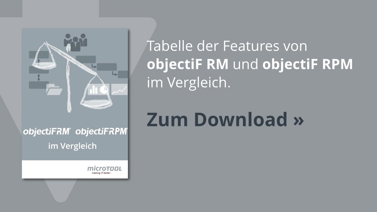 Tabellarischer Vergleich von objectiF RM und objectiF RPM