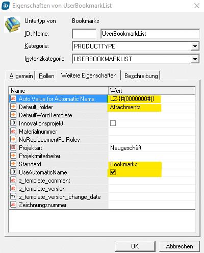 Automatischen Namen vergeben