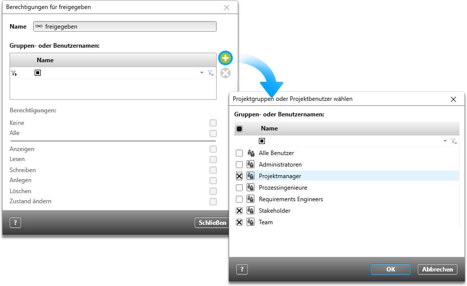Benutzer in objectiF RPM auswählen