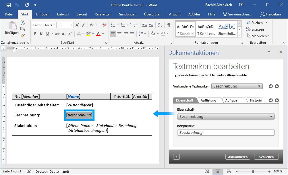 Textmarker in Word