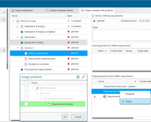 Project schedule with ein- und ausgehenden Produkten in in-STEP BLUE WebApp