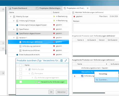 Projektplan mit ein- und ausgehenden Produkten in in-STEP BLUE WebApp