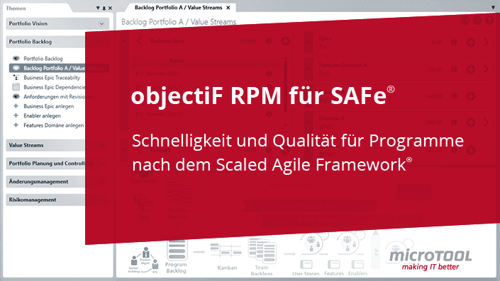 objectiF RPM für SAFe® - Scaled Agile Framework®
