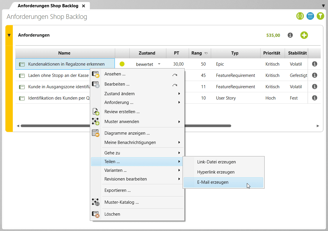 """Alle Projektinhalte in objectiF RPM """"teilen"""" Sie per E-Mail mit einem Link zum Inhalt"""