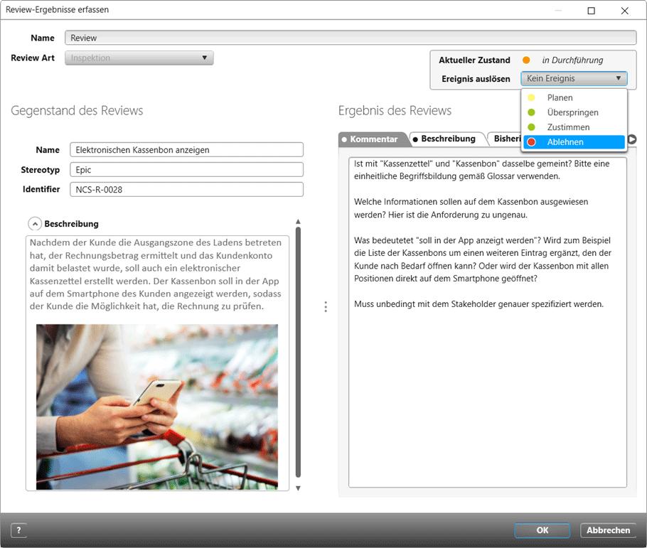 Im Review können Sie Stakeholder-Ziele, Anforderungen, Use Cases, Testfälle, Risiken und Dokumente prüfen