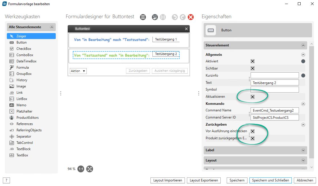 Eigenschaften eines Buttons in in-STEP BLUE