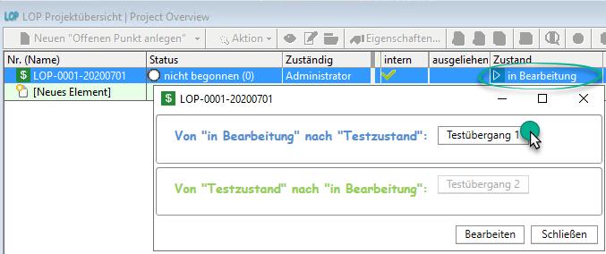 Testübergang 2 per Button in in-STEP BLUE